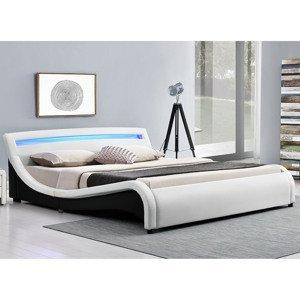 """Eshopist Čalúnená posteľ ,,Malaga"""" 180 x 200 cm s LED na čelnej doske - biela"""