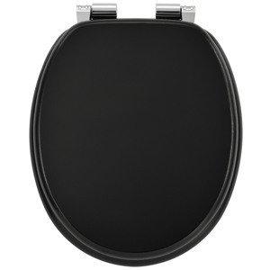 Eshopist Záchodová doska čierna vyrobená z MDF s tichým zatváraním