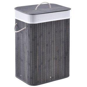 Eshopist Bambusový kôš na prádlo Curly 72 litrov sivý s vakom na bielizeň a rukoväťami