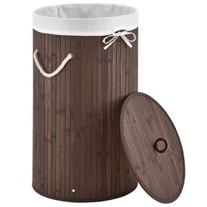 Eshopist Bambusový kôs na prádlo Curly okrúhly, hnedý s vrecom na bielizeň a s uškami na prenášanie