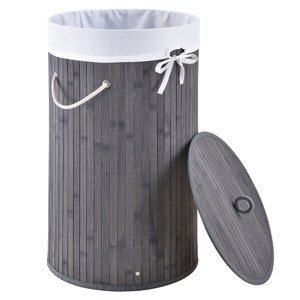 Eshopist Bambusový kôš na prádlo Curly-Round šedý s vakom na bielizeň a rukoväťami, 55 l