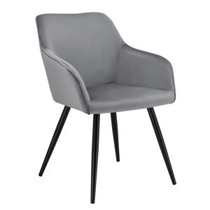 Eshopist Lounge stolička Tarje so zamatovým poťahom v svetlosivej farbe