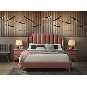 Eshopist Čalúnená posteľ MONAKO VELVET 160 x 200 cm farba staro ružová/zlatá