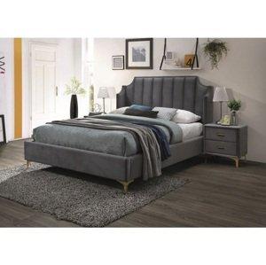 Eshopist Čalúnená posteľ MONAKO VELVET 160 x 200 cm farba sivá/zlatá