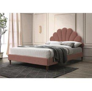 Eshopist Čalúnená posteľ SANTANA VELVET 160 x 200 cm farba staro ružová/dub
