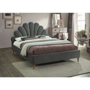 Eshopist Čalúnená posteľ SANTANA VELVET 160 x 200 cm farba sivá/dub