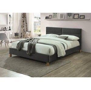 Eshopist Čalúnená posteľ SIERRA VELVET 160 x 200 cm farba sivá/dub