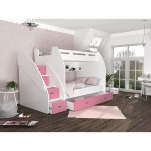 ArtAJ Detská poschodová posteľ ZUZIA Farba Zuzia: biela/ružová