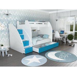 ArtAJ Detská poschodová posteľ ZUZIA Farba Zuzia: biela/modrá