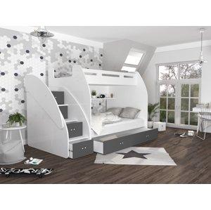 ArtAJ Detská poschodová posteľ ZUZIA Farba Zuzia: biela/sivá