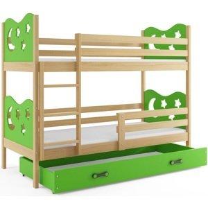 BMS Poschodová detská posteľ Miko /borovica Farba: Zelená, Rozmer.: 190 x 80 cm