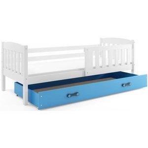 BMS Detská posteľ Kubuš 1 s úložným priestorom / biela Farba: biela / modrá, Rozmer.: 190 x 80 cm