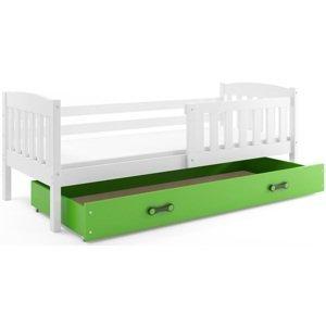 BMS Detská posteľ Kubuš 1 s úložným priestorom / biela Farba: biela / zelená, Rozmer.: 190 x 80 cm