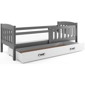 BMS Detská posteľ Kubuš 1 s úložným priestorom / SIVÁ Farba: Sivá / biela, Rozmer.: 200 x 90 cm
