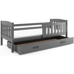 BMS Detská posteľ Kubuš 1 s úložným priestorom / SIVÁ Farba: Sivá / sivá, Rozmer.: 200 x 90 cm
