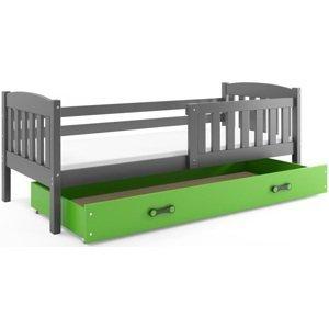 BMS Detská posteľ Kubuš 1 s úložným priestorom / SIVÁ Farba: Sivá / zelená, Rozmer.: 160 x 80 cm