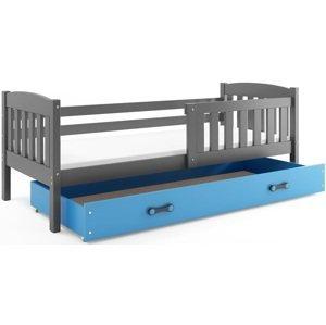 BMS Detská posteľ Kubuš 1 s úložným priestorom / SIVÁ Farba: Sivá / Modrá, Rozmer.: 200 x 90 cm