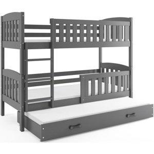 BMS Detská poschodová posteľ KUBUŠ 3 s prístelkou / sivá Farba: Sivá / sivá, Rozmer.: 190 x 80 cm