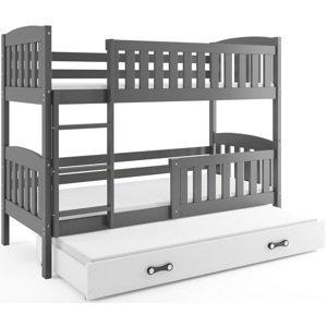 BMS Detská poschodová posteľ KUBUŠ 3 s prístelkou / sivá Farba: Sivá / biela, Rozmer.: 190 x 80 cm