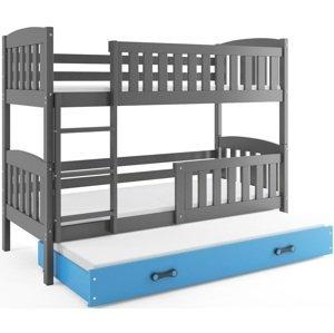 BMS Detská poschodová posteľ KUBUŠ 3 s prístelkou / sivá Farba: Sivá / Modrá, Rozmer.: 190 x 80 cm