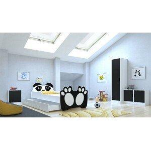 ArtAdr Detská posteľ zvieratko 140x70 so zásuvkou Farba: Bielo / čierna panda