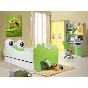 ArtAdr Detská posteľ zvieratko 140x70 so zásuvkou Farba: bielo / zelená žabka