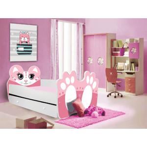 ArtAdr Detská posteľ zvieratko 140x70 so zásuvkou Farba: bielo / ružová mačička