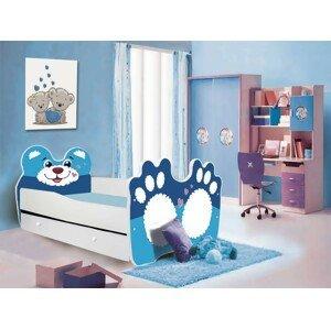 ArtAdr Detská posteľ zvieratko 160x80 so zásuvkou Farba: bielo / modrý macko