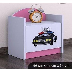 Happy Babies Nočný stolík HAPPY/ 54 Policajné auto SZN02 Farba: Ružová, Prevedenie: Jedna zásuvka
