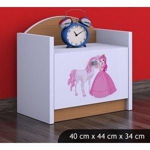 Happy Babies Nočný stolík HAPPY/ 09 Princezná s koníkom SZN02 Farba: Buk, Prevedenie: Jedna zásuvka