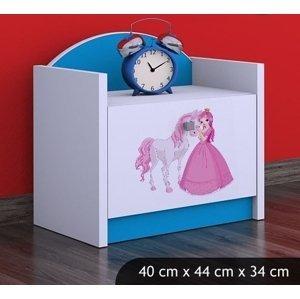 Happy Babies Nočný stolík HAPPY/ 09 Princezná s koníkom SZN02 Farba: Modrá, Prevedenie: Jedna zásuvka