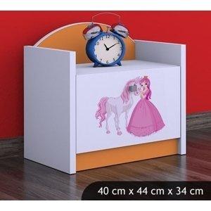 Happy Babies Nočný stolík HAPPY/ 09 Princezná s koníkom SZN02 Farba: Oranžová, Prevedenie: Jedna zásuvka