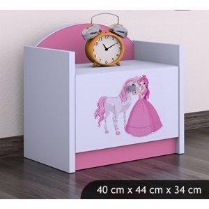 Happy Babies Nočný stolík HAPPY/ 09 Princezná s koníkom SZN02 Farba: Ružová, Prevedenie: Jedna zásuvka