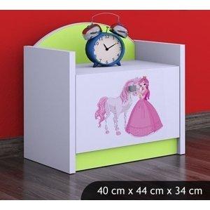 Happy Babies Nočný stolík HAPPY/ 09 Princezná s koníkom SZN02 Farba: Zelená, Prevedenie: Jedna zásuvka
