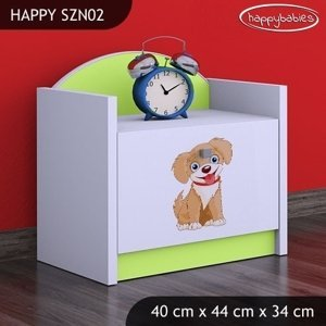 Happy Babies Nočný stolík HAPPY/ 13 Psík hnedý SZN02 Farba: Zelená, Prevedenie: Jedna zásuvka
