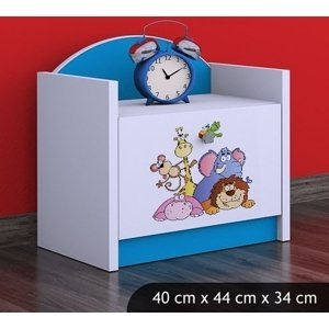 Happy Babies Nočný stolík HAPPY/ 05 Safari SZN02 Farba: Modrá, Prevedenie: Jedna zásuvka