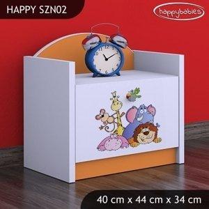 Happy Babies Nočný stolík HAPPY/ 05 Safari SZN02 Farba: Oranžová, Prevedenie: Jedna zásuvka