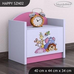 Happy Babies Nočný stolík HAPPY/ 05 Safari SZN02 Farba: Ružová, Prevedenie: Jedna zásuvka