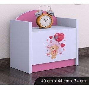 Happy Babies Nočný stolík HAPPY/ 08 Zamilovaný macko SZN02 Farba: Ružová, Prevedenie: Jedna zásuvka
