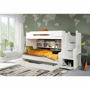 ArtBed Detská poschodová posteľ Harry Farba: biela/biela