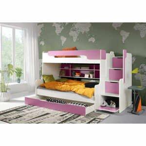 ArtBed Detská poschodová posteľ Harry Farba: biela/ružová