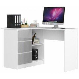 ArtAko Písací stolík Clips B16 Farba: biela/ sivý lesk, Prevedenie: ľavé