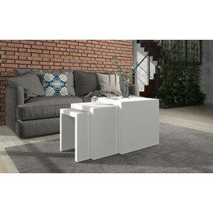 ArtAdr Set konferenčných stolíkov BASEL Farba: biely mat