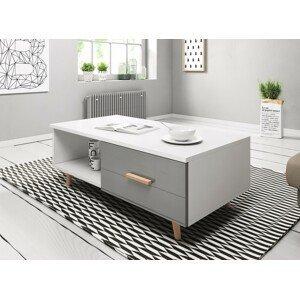 WIP Konferenčný stolík SWEDEN 3 Farba: biela/ sivá lesk
