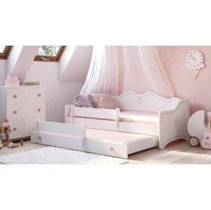 ArtAdr Detská posteľ Emka II Farba: Biela / ružový úchyt