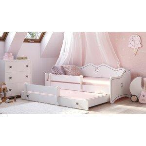 ArtAdr Detská posteľ Emka II Farba: Biela / sivý úchyt