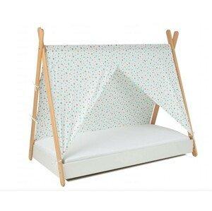 ArtGapp Jednolôžková posteľ TIPI so strieškou Farba: Biela/ sivo -mentolové hviezdičky