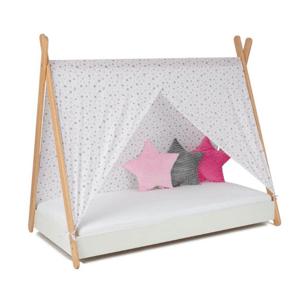 ArtGapp Jednolôžková posteľ TIPI so strieškou Farba: Biela / sivo - ružové hviezdičky