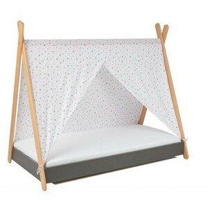 ArtGapp Jednolôžková posteľ TIPI so strieškou Farba: Sivá / sivo - ružové hviezdičky
