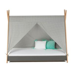 ArtGapp Jednolôžková posteľ TIPI so strieškou Farba: Sivá / biele guličky
